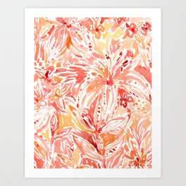LILY LUST Peach Painterly Floral Art Print