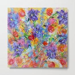 Floral Explosion 2, Floral Home Decor, Bright Colors Metal Print
