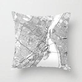 Montreal White Map Throw Pillow