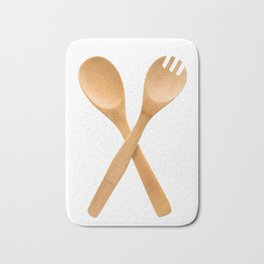 Crossed fork and spoon sign Bath Mat
