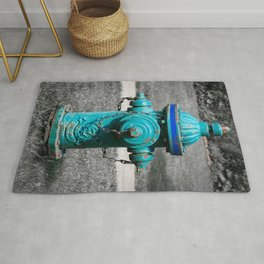 Faded Green Fire Hydrant Fire Plug Selective Color Rug