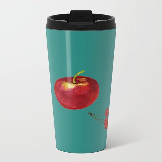 cherries and apples Metal Travel Mug