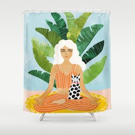Meditation With Thy Cat #illustration #painting Shower Curtain