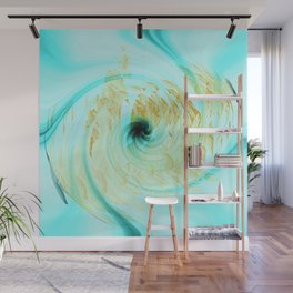 Teal and White Abstract Fashion Design Wall Mural