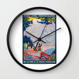 1920 France La Route de Alps PLM Travel Poster Wall Clock