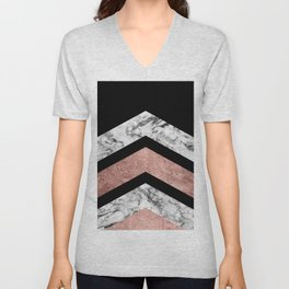 Modern rose gold black white geometric marble Unisex V-Neck