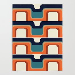 Mid-Century Modern Meets 1970s Orange & Blue Poster