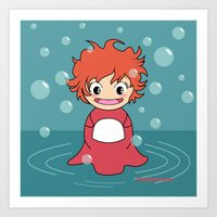 ponyo Art Prints featuring Kokeshi Ponyo by Pendientera