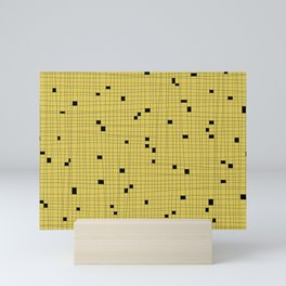 Yellow and Black Grid - Missing Pieces Mini Art Print