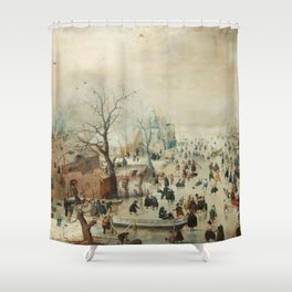 Hendrick Avercamp - Winter landscape with ice skaters ca. 1608 Shower Curtain