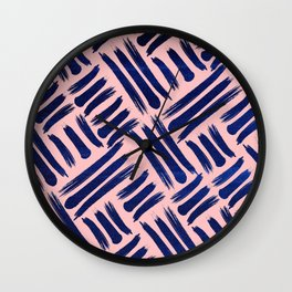 Textured Blue and Pink Lines Wall Clock