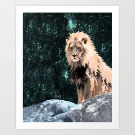 Lion King of the Emerald Panthera Galaxy Art Print