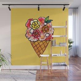 Watercolor - Strawberry Yogurt Ice Cream Cone Wall Mural