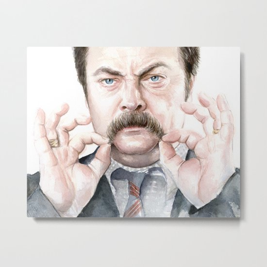 Swanson Mustache Metal Print