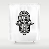 hamsa Shower Curtains featuring Hamsa by ArikaDoe