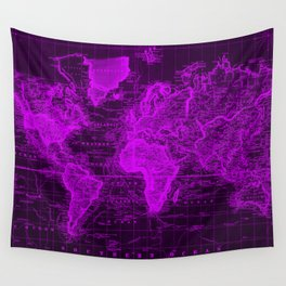 Vintage Map of The World (1833) Black & Purple Wall Tapestry