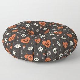 I Heart Halloween Pattern (Black) Floor Pillow