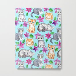 Kittens and Clematis - blue Metal Print