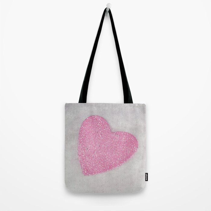 Pink Snow heart Tote Bag