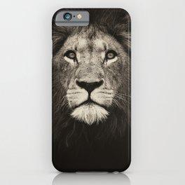 Mr. Lion king, beautiful monochrome lion head on dark background iPhone Case