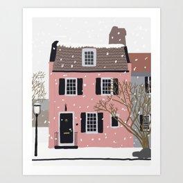 Snowy Day in Charleston Art Print