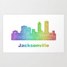 Rainbow Jacksonville skyline Art Print