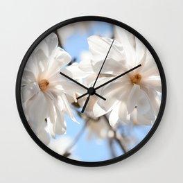 3 glowing Magnolias Wall Clock