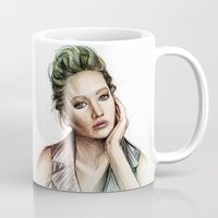 jennifer lawrence Mugs featuring Jennifer Lawrence by Creadoorm