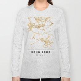HONG KONG CHINA CITY STREET MAP ART Long Sleeve T-shirt