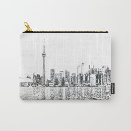 Toronto Skyline Watercolor sketches - water calligraphy, fine art wall art, home decor, architectura Carry-All Pouch