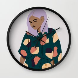 Girl in Modern Graphics Catsuit Wall Clock