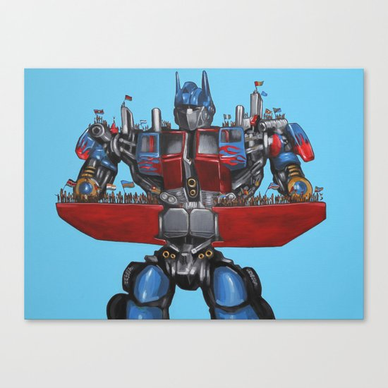 Optimus Prime Saves African Orphans - Transformers Canvas Print