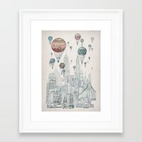 balloons Framed Art Prints featuring Voyages Over New York by David Fleck
