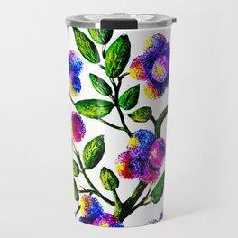 Blue Pink Yelow Flower Branch Clip Art Travel Mug