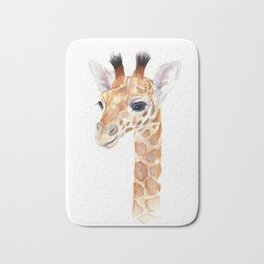 Baby Giraffe Cute Animal Watercolor Bath Mat