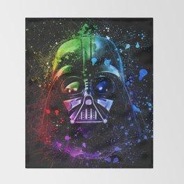 Darth Vader Helmet StarWars Art - Digital Splash Painting Throw Blanket