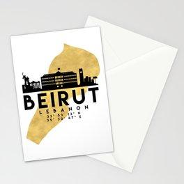 BEIRUT LEBANON SILHOUETTE SKYLINE MAP ART Stationery Cards