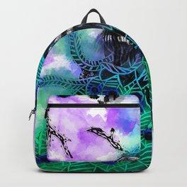 Vibrant Coloured Peacock Lino Print and watercolour artwork Backpack