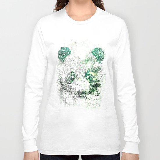 Green Panda Bear Long Sleeve T-shirt