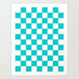Checkered - White and Cyan Art Print