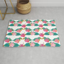 Wings and Roses Turquoise White Rug