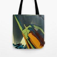 superman Tote Bags featuring Superman by Peerro