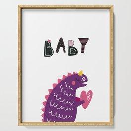 Baby Cute Dinozaurus poster and heart Serving Tray