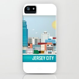 Jersey City, New Jersey - Skyline Illustration by Loose Petals iPhone Case