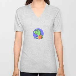 Funny cartoon dinosaur  working out with weights Unisex V-Neck