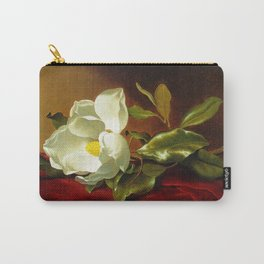 A White Magnolia on Red Velvet by Martin Johnson Head Carry-All Pouch