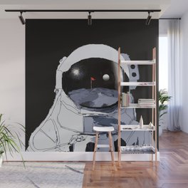 Astronaut Golf Course on the Moon Wall Mural