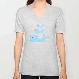 Three Cute Whales in Classic Blue Unisex V-Neck