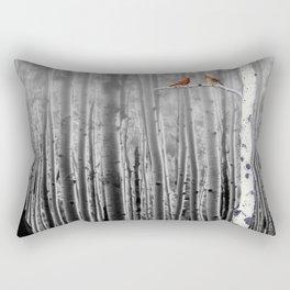 Red Cardinals in Birch Forest A128 Rectangular Pillow