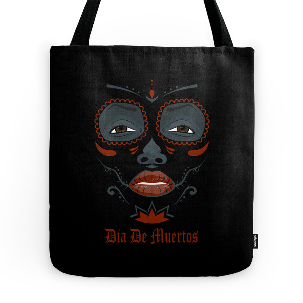 Mexican Girl In Tattoo Style With Traditional Make-Up Tote Purse by milatoo (TBG7602384) photo